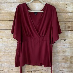 Torrid Red Faux Wrap Tie Elastic Back Blouse NWOT